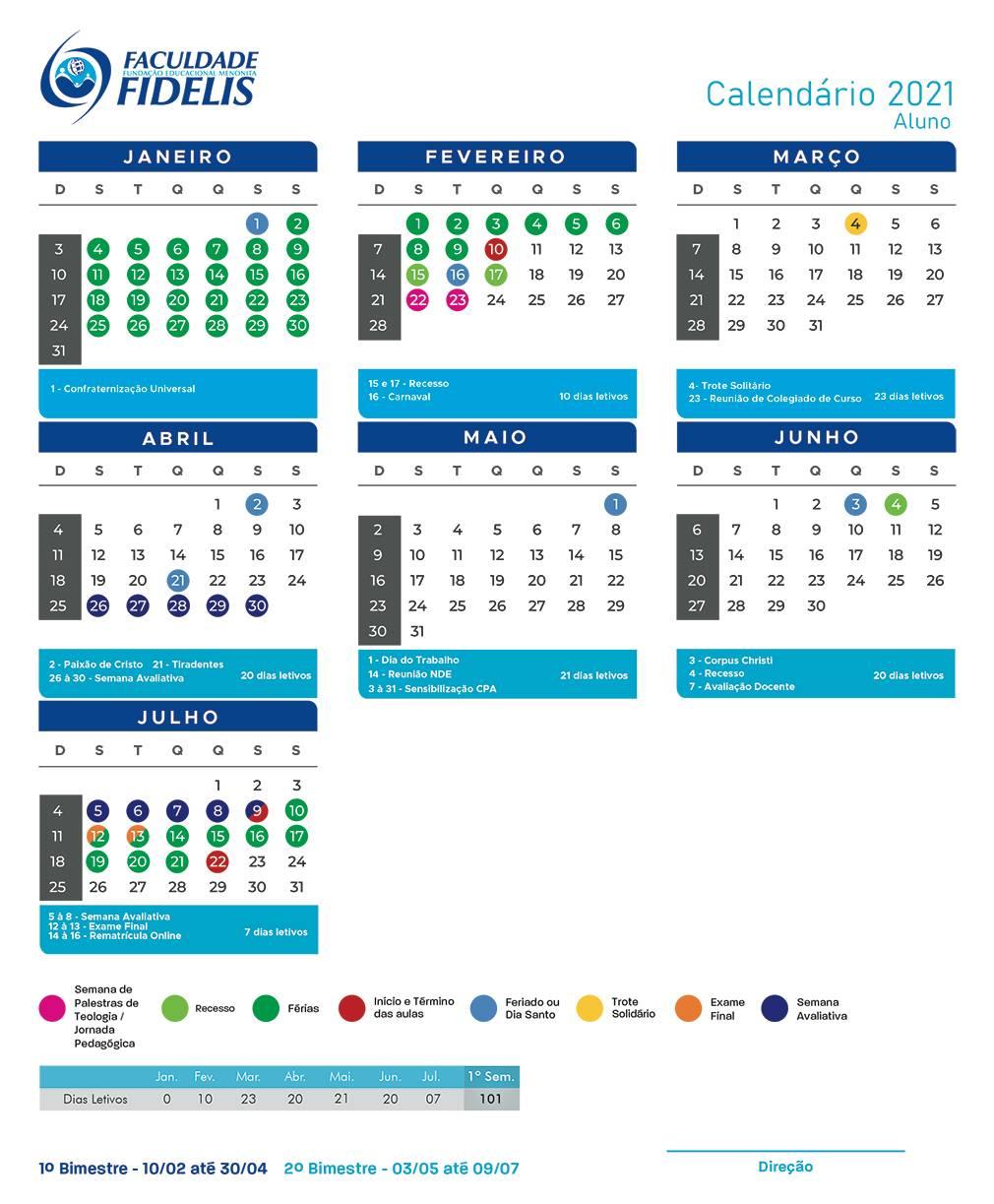 Calendário Faculdade Fidelis